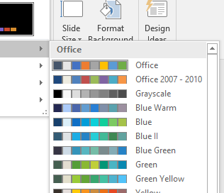 in pc powerpoint 2016 or later type alt g v c to access color themes